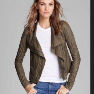 Vince Paper Leather Scuba Asymmetric Jacket Olive